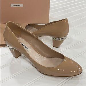 Miu Miu Vernice Nude Patent Crystal Heels - sz 38